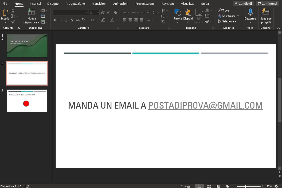 inserire una mail in PowerPoint