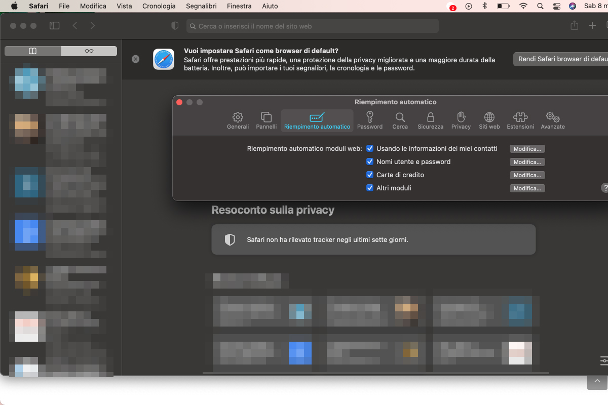 disattivare password manager browser safari