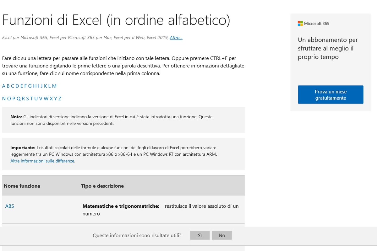 Elenco funzioni di Excel